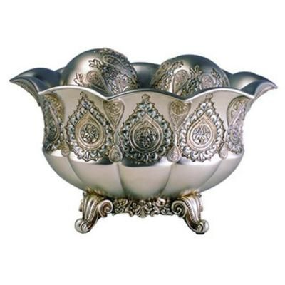 7 in. H Traditional Royal Silver and Gold Metallic Decorative Bowl with Spheres