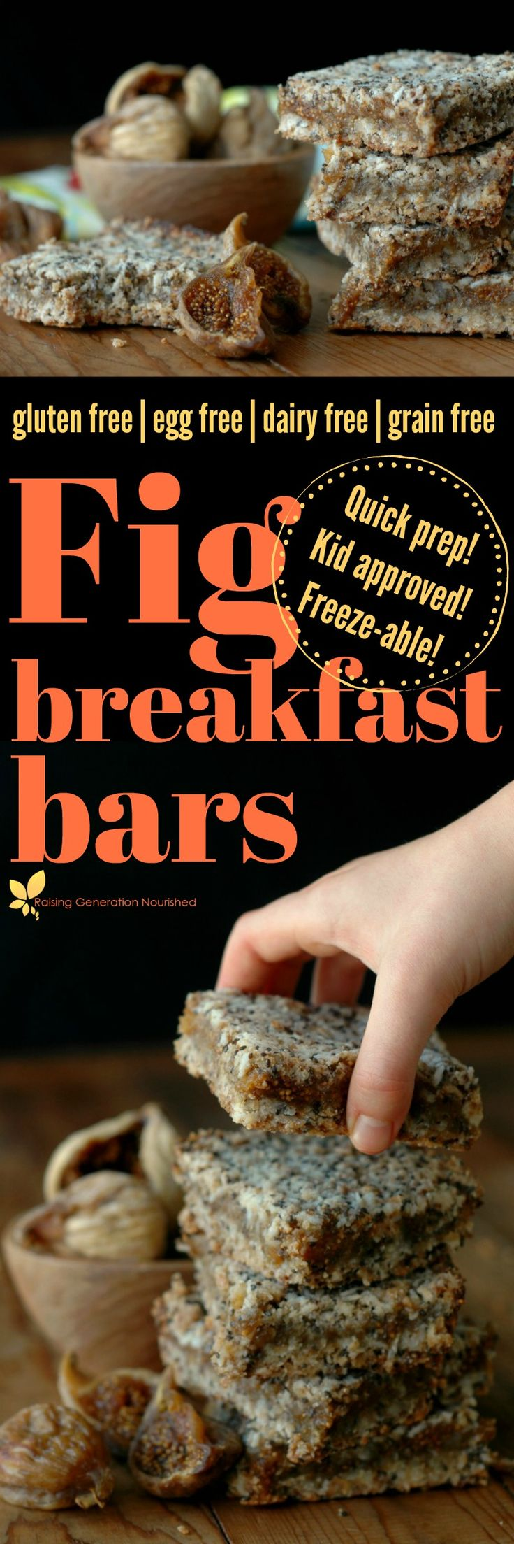 Make breakfast or snack time count with quick prep, freezer friendly, and power packed gluten free fig breakfast bars!