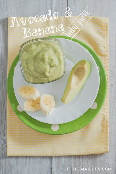 Babyfood recipe Avocado and Banana Baby Pure from Little Mashies reusable food pouches. For free recipe ebook go to Little Mashies website or Amazon