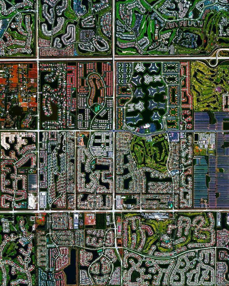 via: @dailyoverview Residential development is seen in Boca Raton, Florida, USA. Because many cities in the state contain master-planned communities, often built on top of waterways in the latter half of the twentieth century, there are a number of intricate designs that are visible from the Overview perspective. Boca Raton is home to roughly 91,000 residents.