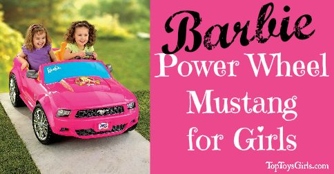 Barbie Power Wheel Mustang is what she really wants. Make her first car a classic convertible Pink Barbie Mustang Power Wheels! Power and classic beauty.