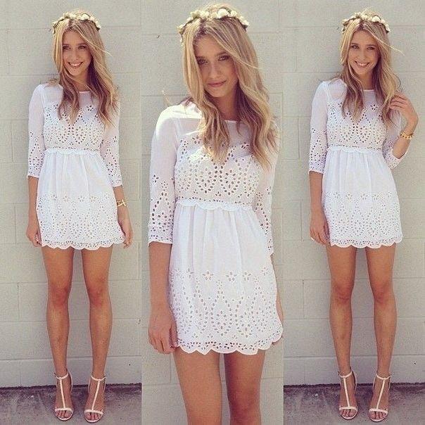 Vestido Branco de Laise - Vestidos | DMS Boutique