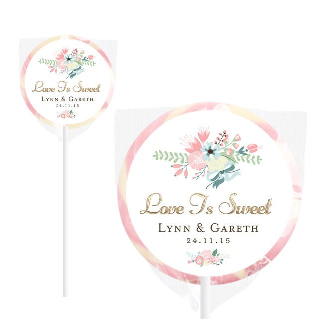 Floral Pink Handmade Wedding Lollipops
