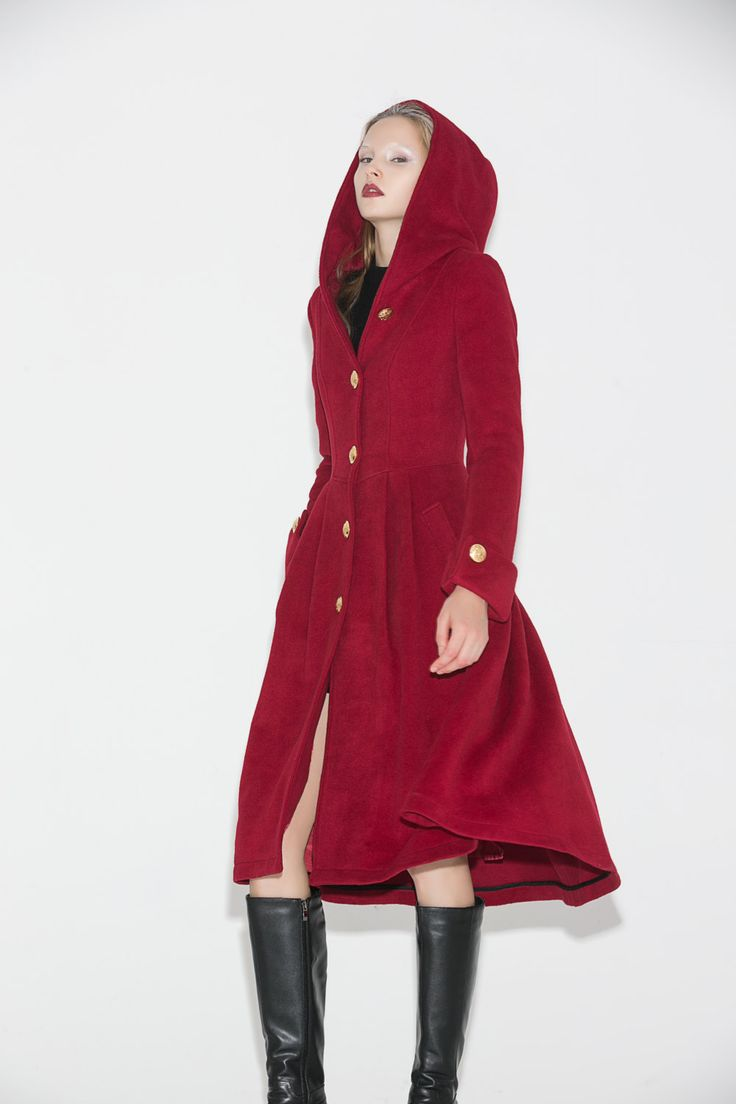 Wine Red Wool Coat - Hooded Fitted Single-Breasted with Large Cuff Sleeves and Asymmetrical Hem Womens Coat Winter Fashion C680 by YL1dress on Etsy