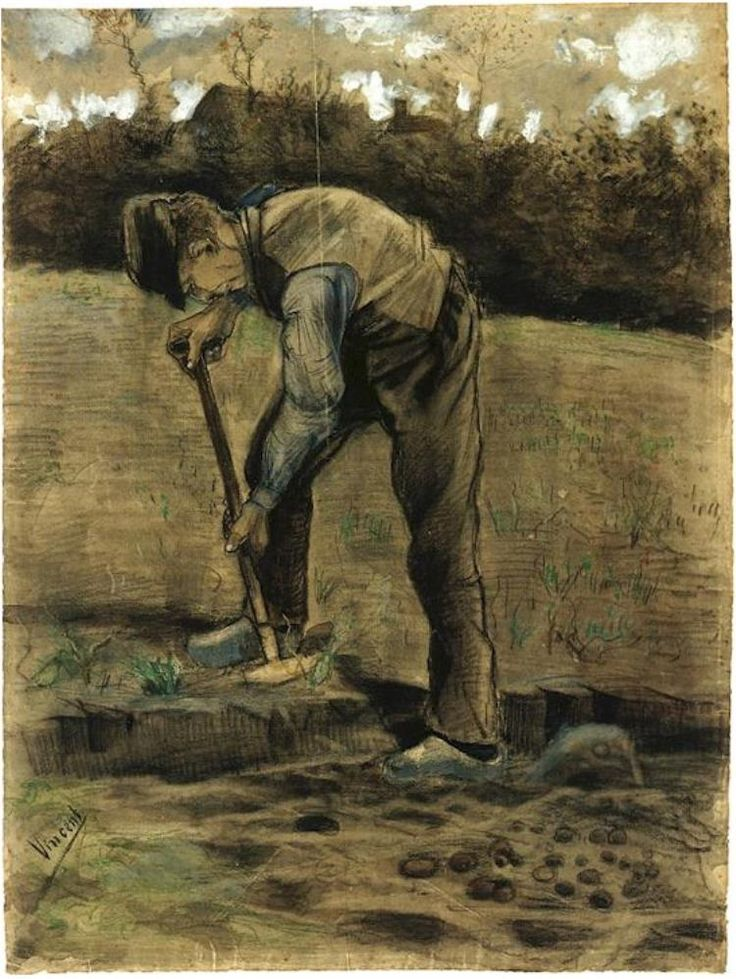 Vincent van Gogh Excavador Watercolor