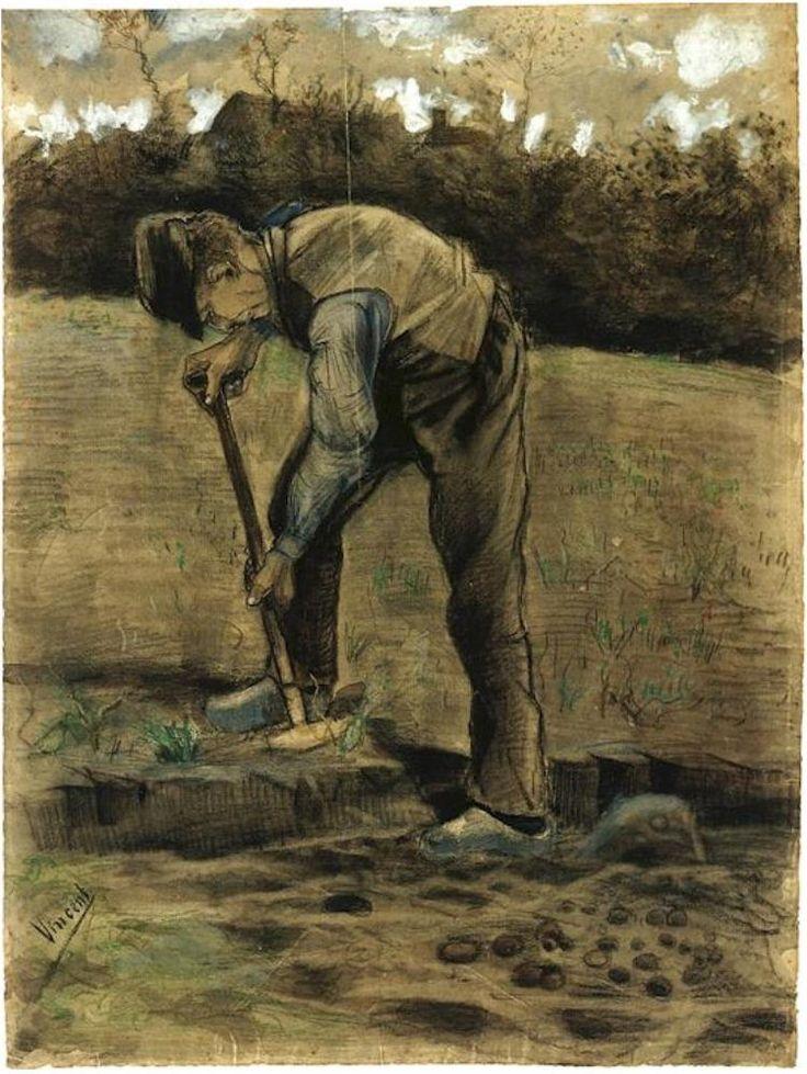 Vincent van Gogh Excavador Watercolor
