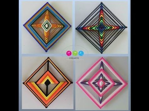 DIY Tutorial - Yarn Decoration Inspired by Ancient Ojo de Dios Mandala Folk Art (God's Eye) - YouTube