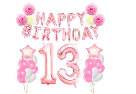 Age 13 Girl Birthday Foil Party Banner /& Balloons Happy 13th Birthday
