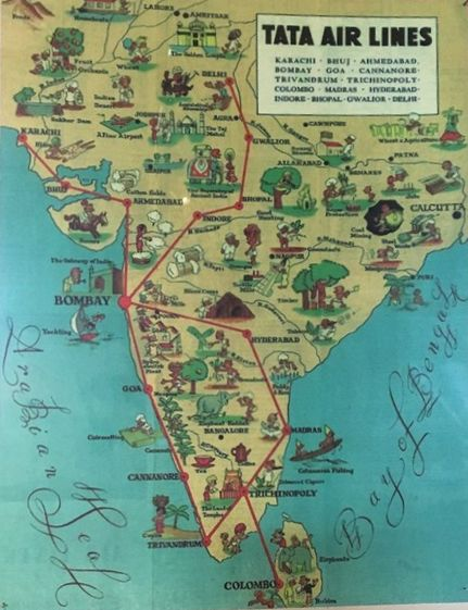 #Tata Airlines Route #Map was amongst the early #airlines setup in #India whose founder was JRD Tata in 1932, it was taken over by Govt of India after Independence and renamed as #AirIndia.