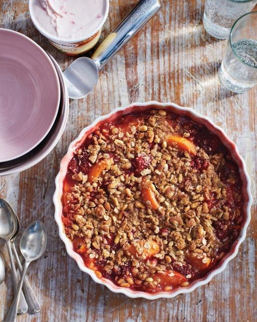 Strawberry and Apricot Crisp with Pine-Nut Crumble Recipe: Desserts, Pine Nut Crumble, Apricot Crisps, Pinenut, Food, Recipes, Strawberries, Martha Stewart, Crumble Recipe