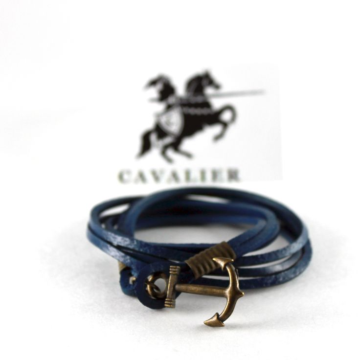 Blue Leather Anchor Bracelet www.mycavalier.co