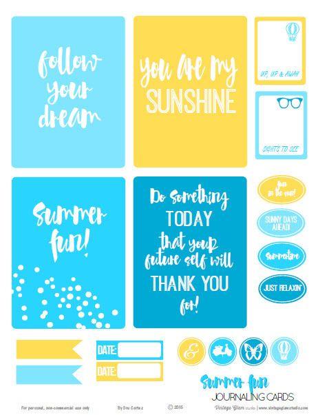FREE Summer Fun Journaling Cards   Free printable download Summer by Vintage Glam Studio