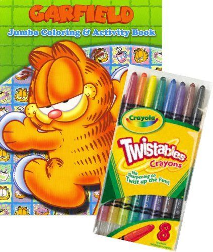 """Garfield ® Coloring Book Set with Crayola Twistable Crayons by Garfield. $12.95. Book measures approximately 8"""" x 10.75"""" and has about 90 pages.. Delight your Garfield ® fan with Garfield ® Coloring Book Set with Crayola Twistable Crayons.. Includes package of full sized Crayola Twistable Crayons.. Games, puzzles, mazes and coloring fun with Garfield® characters.. Great gift for your favorite Garfield® enthusiast! This coloring and activity set will provide many hours of fun..."""