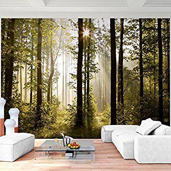 Fototapete Wald Bäume 352 x 250 cm Vlies Wand Tapete Wohnzimmer - tapete für wohnzimmer