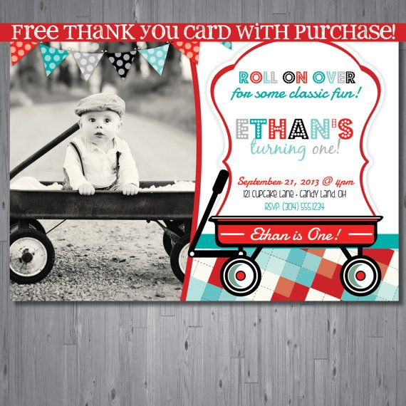 wagon Birthday Invitation, first birthday party invitation, radio flyer, retro party invitation printable, FREE thank you card, INSPIRED