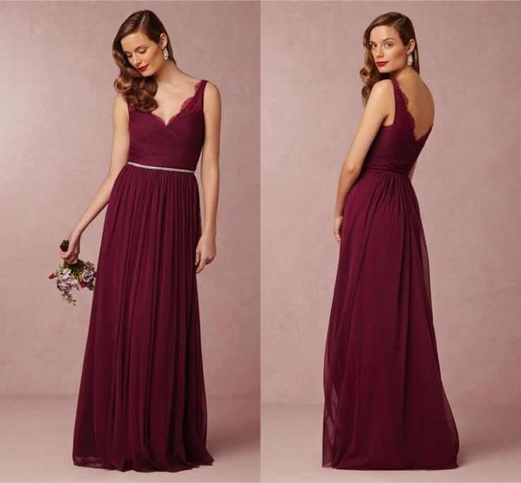 Buy wholesale tangerine bridesmaid dresses,teal bridesmaids dresses along with turquoise blue bridesmaid dresses on DHgate.com and the particular good one- Red wine chiffon long Bridemaid Dresses 2015 floor Length lace sheer straps V-neck Backless zipper beads ruched A-line wedding Party Gowns is recommended by anniesbridal at a discount.