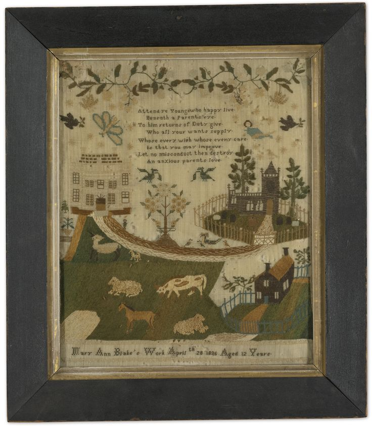 Pamela Andersen - 1785 - silk on linen. Sold with Hannah Robinson and Mary Ann Blake samplers for 8,125 USD