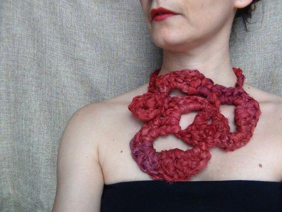 Crochet necklace silk jewellery free form crochet by WearitCrochet