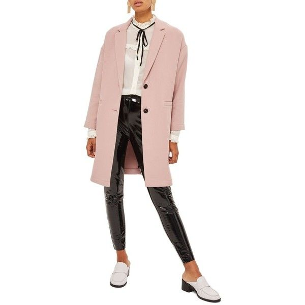 Women's Topshop Ponte Twill Coat (2.496.890 VND) ❤ liked on Polyvore featuring outerwear, coats, nude, pink coat, over coat, texture coat, pink overcoat and longline coat