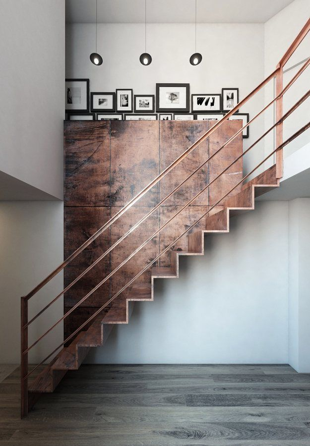 Modern, wood staircase with clean lines and touches of metal