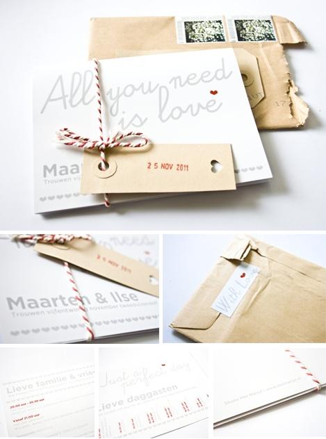 All you need is love met een vleugje vintage. Zeer bijzondere trouwkaart door studio MetMarjet
