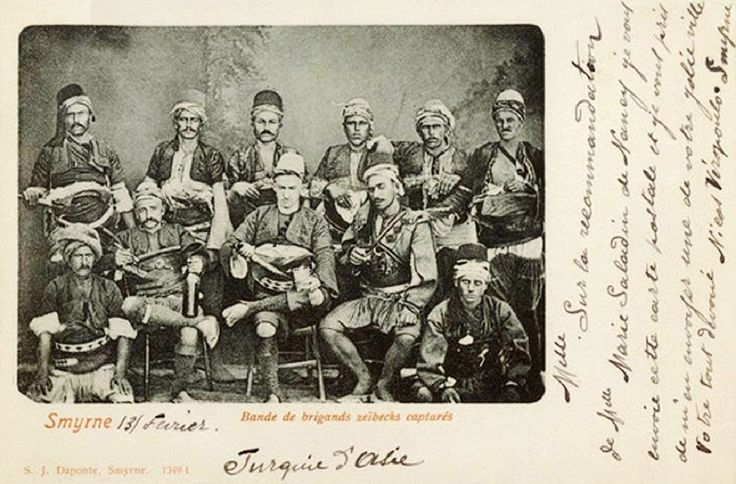 A group of 'Efe' (or: 'Zeybek') from the Izmir region, in traditional outfit. Late-Ottoman era, end of 19th century. The 'Efe / Zeybek' were the 18th-19th century people's militia of the Aegean coastal area, who sometimes turned themselves into professional brigands.