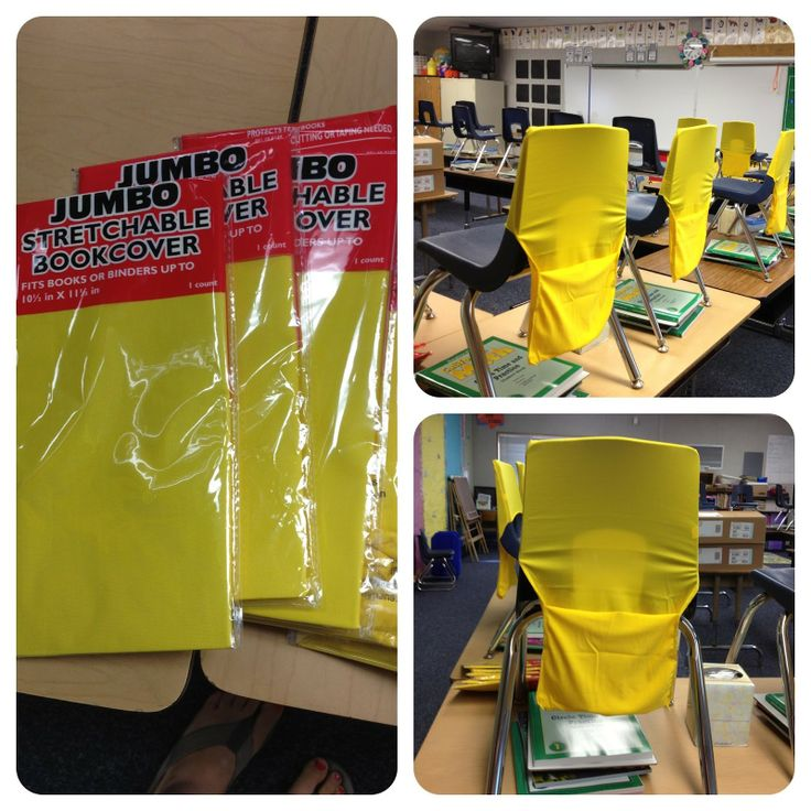 Get JUMBO Stretchable Bookcovers from Target, (only $ 1), invert one of the sides, put it over your student's chair-- tah-dah! Chair/seat pocket!!!