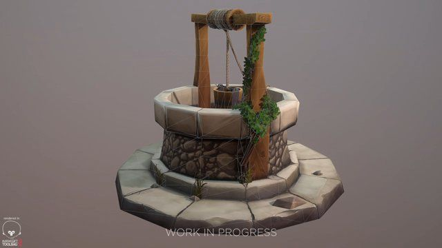 Low-poly enviroment - work in progress  A couple of months ago I started personal project in order to improve my lowpoly modeling and textures painting skills. Here's a little sneak peek of work in progress.