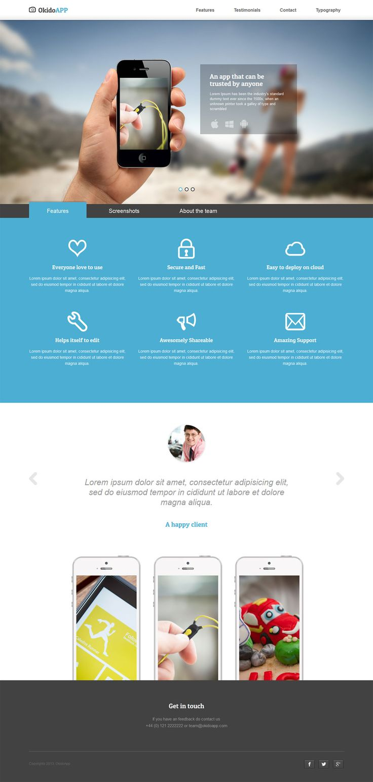 OkidoApp is a $9 responsive, retina ready, landing page template with some impressive intro slideshow transitions.