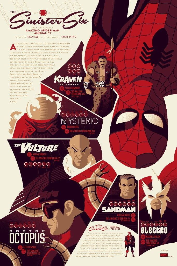 Sinister Six by Tom Whalen  24″ x 36″ Screenprint, Edition of 325