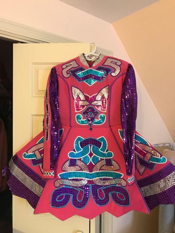 Stunning Pink Paul Keith Irish Dance Dress Solo Costume For Sale