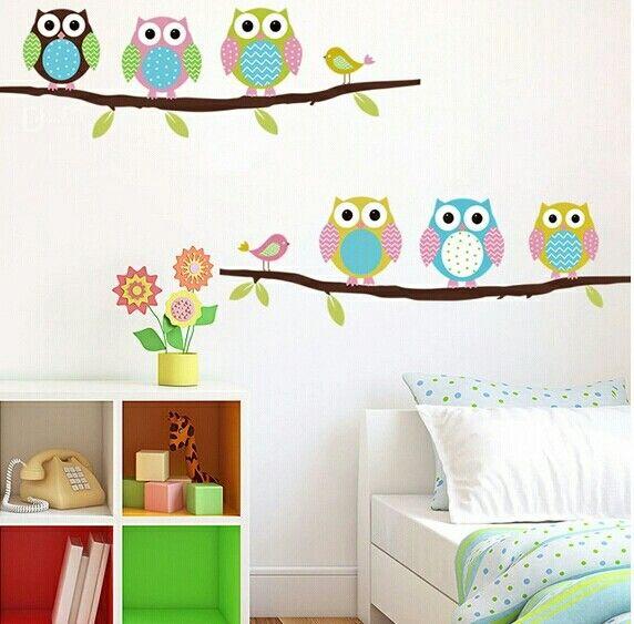 Sevimli baykuşlar duvar stickeri çocuk odası duvar stickeri