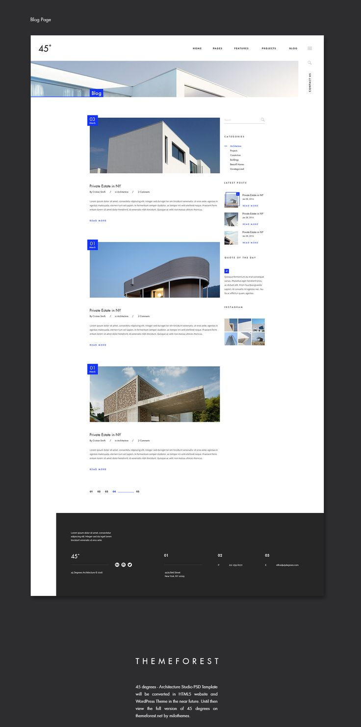 45 degrees is an unconventional theme for architecture with a modern design, breaking the usual pattern of classical templates. ----------------------------------View it on themeforest.net - http://bit.ly/1PfySTD