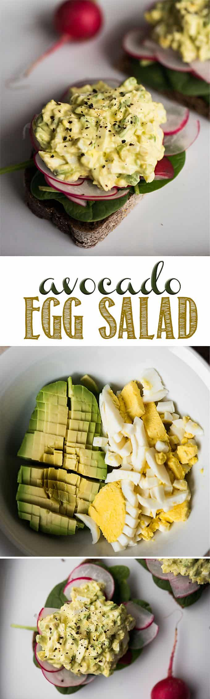 Avocado Egg Salad combines creamy mashed avocado with traditional egg salad for a delicious quick and easy lunch. If you love avocado on toast, but also love the flavor of egg salad, then this recipe is for you. Make a big batch and have lunch ready to go for the whole week! #avocado #eggsalad #avocadoeggsalad