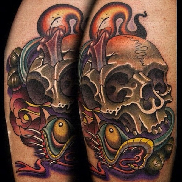 New school pirate skull tattoo - photo#1