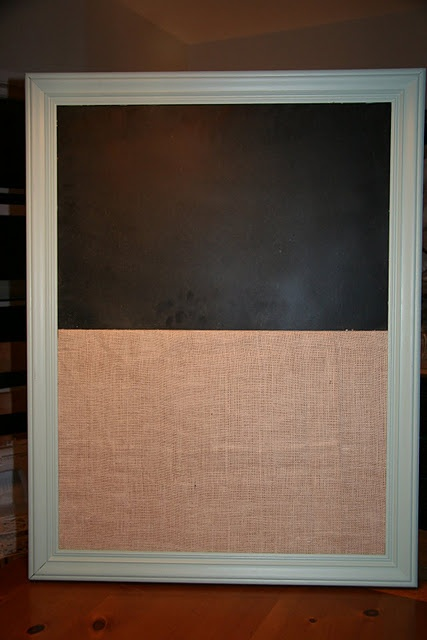 DIY cork and chalk board made from old frame