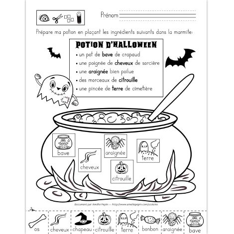 Fichier PDF téléchargeable En noir et blanc seulement 2 pages  L'élève découpe et colle les ingrédients de la recette dans la marmite. 2 modèles de l'exercice sont inclus dans le document.