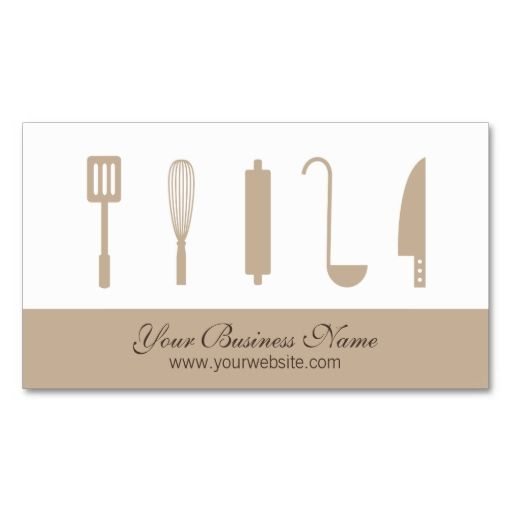 Chef cooking utensils catering business cards infos for Catering business card template