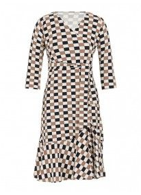 Wrap dress with frill Multi-colour