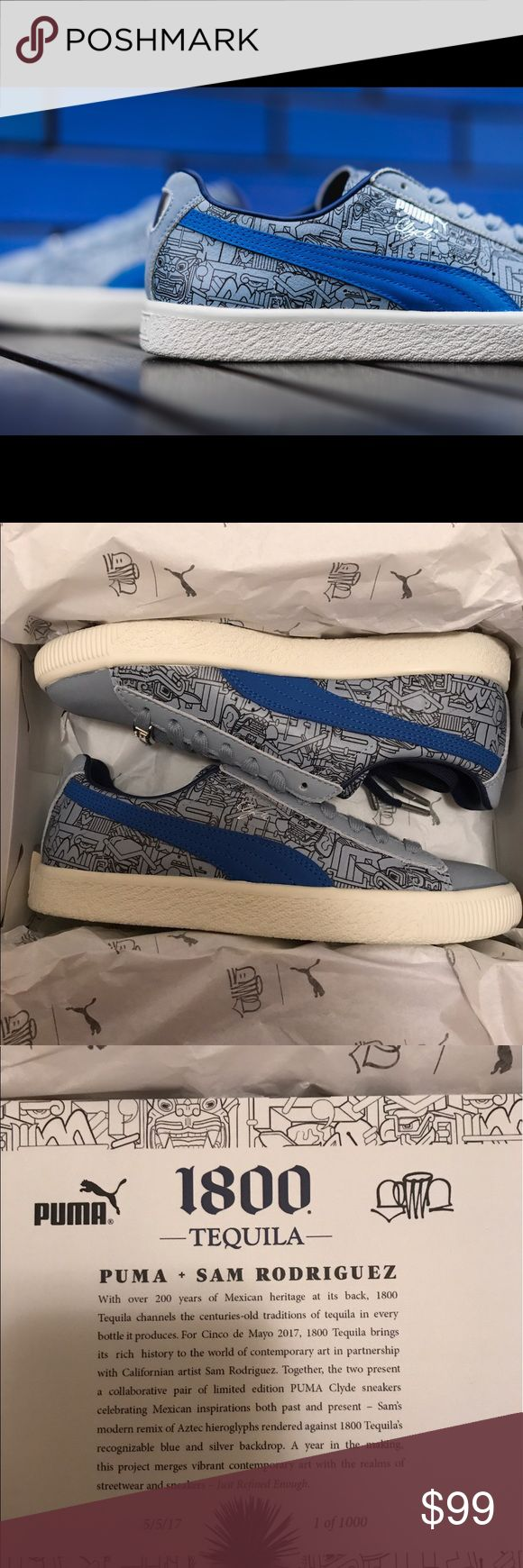 "Puma Clyde Sam Rodriguez 1800 Tequila 365060-01 Puma Clyde Sam Rodriguez 1800 Tequila 365060-01 Size Mens US 5 / Womens US 6.5 NEW IN BOX! 1800 Tequila provided the inspiration for the latest edition of Walt ""Clyde"" Frazier's signature shoe — a light blue upper, suede toe, and silver heel tab reference the brand's bottle. Due to launch on Cinco de Mayo, the shoe's print merges Mayan and Aztec sculpture found throughout Mexico with Sam's signature graffiti-style art. Custom sneakers are…"