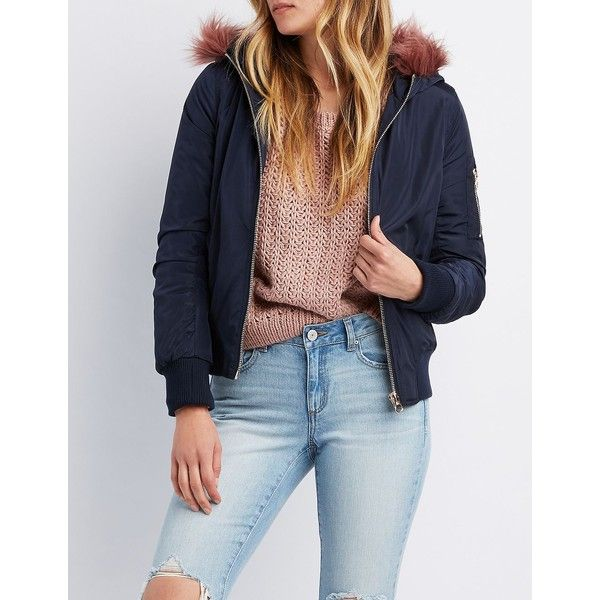 Charlotte Russe Faux Fur-Trim Hooded Bomber Jacket ($26) ❤ liked on Polyvore featuring outerwear, jackets, navy, navy utility jacket, navy blue bomber jacket, navy bomber jacket, blue bomber jackets and navy blue jacket