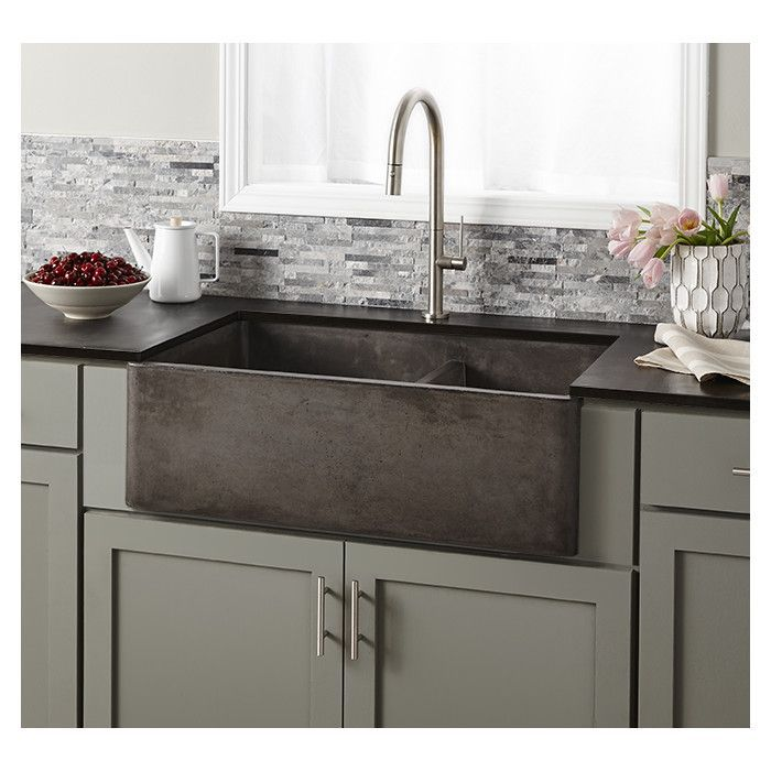 "Native Trails Farmhouse 33"" x 21"" Double Bowl Kitchen Sink & Reviews | Wayfair in slate"