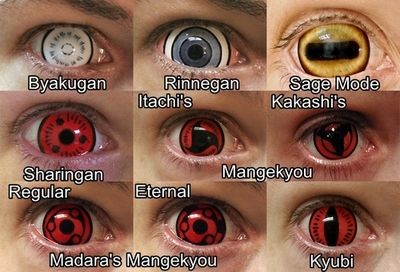 naruto contact lenses  I want them all!