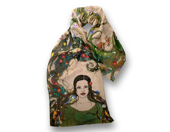 Beautiful painted scarf wood nymph long hair rabbit and wild