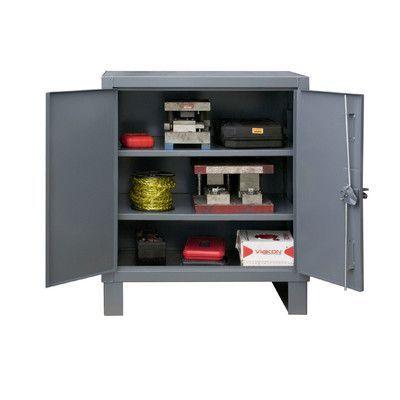 "Durham Manufacturing 42"" H x 36"" W x 24"" D Heavy Duty Recessed Door Style Lockable Storage Cabinet"