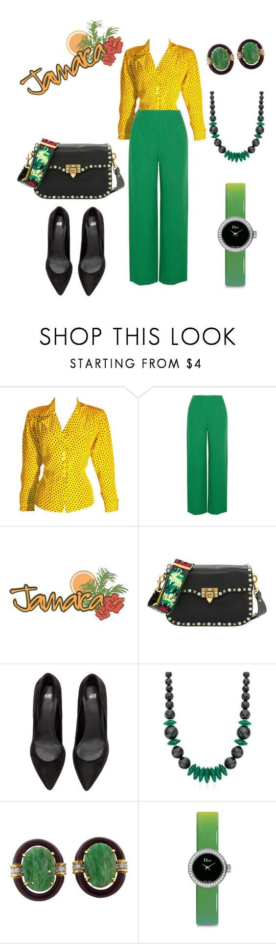 """""""Happy Independence Day Jamaica"""" by commerce-closet ❤ liked on Polyvore featuring Yves Saint Laurent, Isa Arfen, Valentino, Ross-Simons, David Webb and Christian Dior"""