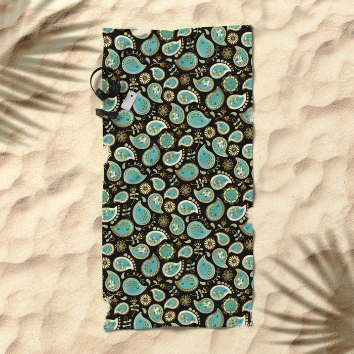 20% Off + Free Shipping Today! Hedgehog Paisley_Teal BgBlack Beach Towel by Mia Valdez | Society6