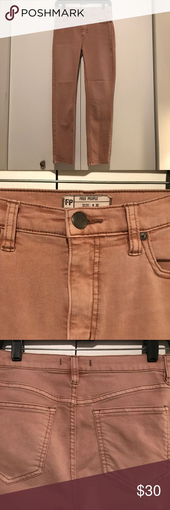Free People Jeans, skinny fit, size 28 Free People jeans in a dusty rose color. Skinny fit, with 2% spandex. Size 28 Free People Jeans Skinny