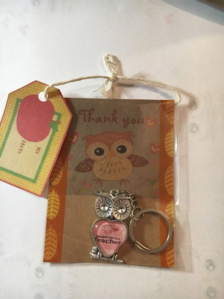 A personal favourite from my Etsy shop https://www.etsy.com/au/listing/565080649/kindergarten-teacher-owl-keyring-in-gift