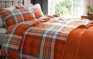 Buy Brushed Cotton Orange Check Bed Set online today at Next: Rep. of Ireland